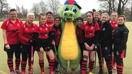 Members of Wisbech Town Hockey Club with their mascot Crockey