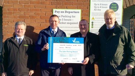 Horsefair retains safe car parking title. (Left to right) Steve Crowther, regional manager for Horiz