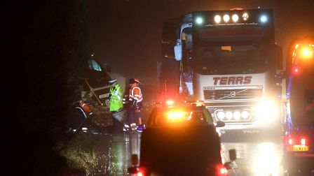 Emergency services at the scene of the crash. Picture: Joe Giddens/PA Wire