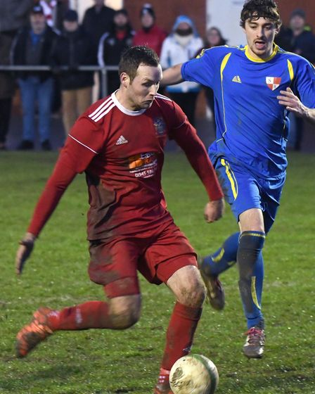 Four-goal frontman Alex Beck during Wisbech Town's win against Sileby Rangers. Picture: IAN CARTER