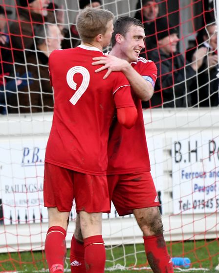 Wisbech Town pair Michael Frew and Adam Millson celebrate. Picture: IAN CARTER