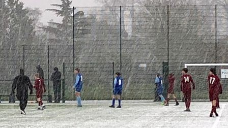 The match between Welwyn Pegasus U14 Royals and Wheathampstead Sharks was hit by a big hailstorm.