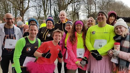 Steve Whitelam along with TCRC members before his 50th Parkrun