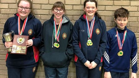 Wisbech Grammar School pupils Laura Wright, Millie Oram, Amy Everall and Thomas Fox win four gold me