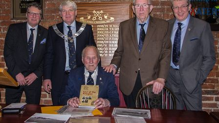 Lancaster bomber Henry Wagner, 94, with members of the Wisbech Business And Professional Mens Club m
