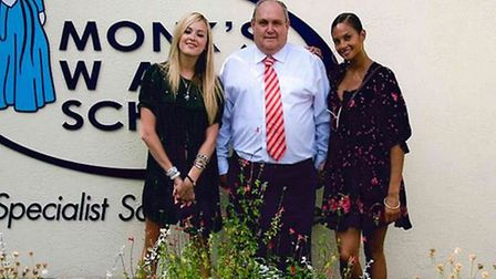 Noel Kelly with Alesha Dixon and Fearne Cotton. Picture: supplied by Monk's Walk School