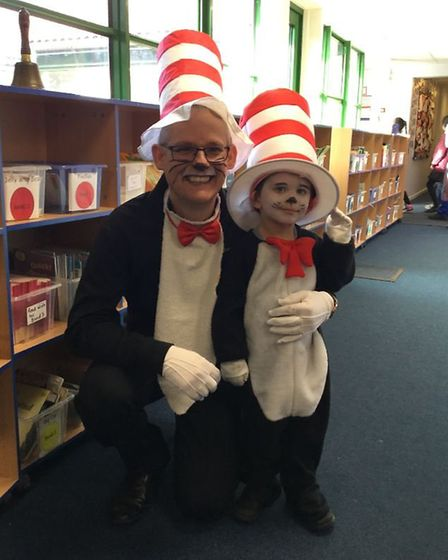 Alan Cocker and a pupil at Cranborne Primary School. Picture: Supplied by Cranborne Primary School