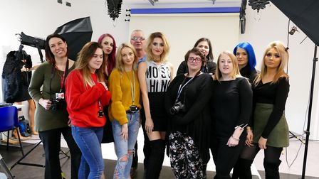International model Amber Tutton with photography students at the College of West Anglia in Wisbech