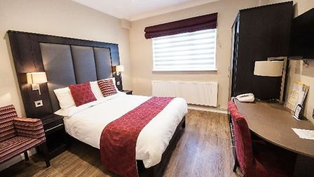 One of the guest rooms at The Crown Lodge Hotel in Outwell.