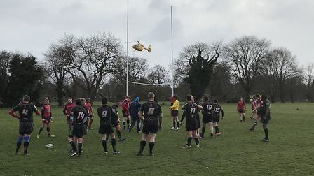 A rugby player had to be airlifted to hospital after suffering a head injury during a game at the we