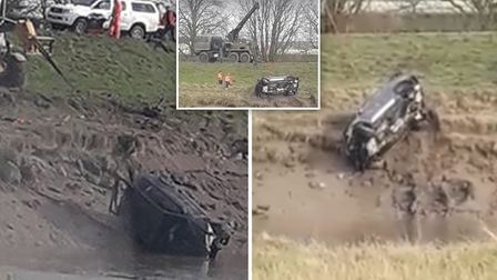 Dramatic footage shows a grey BMW being dragged from the Sutton Bridge river bank on Friday (March 1