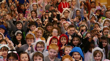 Pupils at St Michael's Primary School dressed in their onesies and slippers to raise money for litte