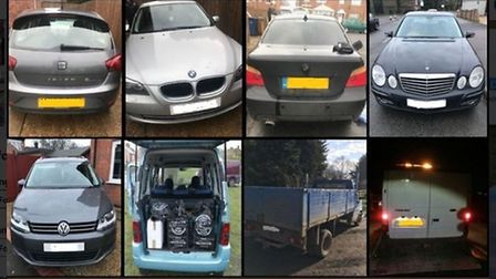 Eight vehicles seized in five days by Downham Market officers. Picture: Norfolk Constabulary