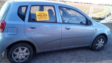 Police seized this car after its uninsured driver was found asleep at the wheel. Picture: Norfolk Co