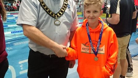Jake Moore was one of Potters Bar Swimming Club's many multi-medal winner swimmers at the Herts Coun