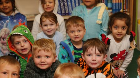 Springmead Primary School reception pupils dress up in pyjamas to celebrate World Book Day 2018. Pic