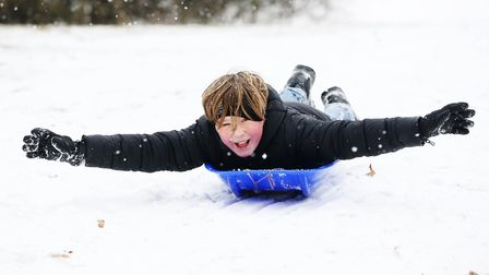Hector Dobney, 10, has fun in the snow at the lagoon on Waterside, Welwyn Garden City. Picture: Dann