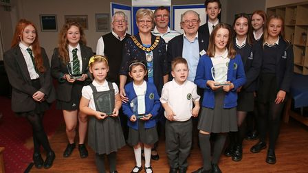 The late mayor of Welwyn Hatfield, Lynne Sparks, with members of WGC Photographic Club and some of t