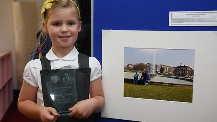 Eleanor Spruce, five, from Templewood school with her entry into the 2017 competition. Picture: Dann