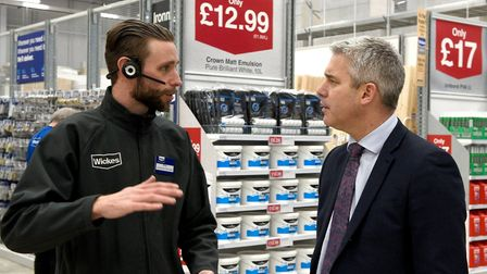 Steve Barclay MP pictured with a member of staff at Wickes in Wisbech