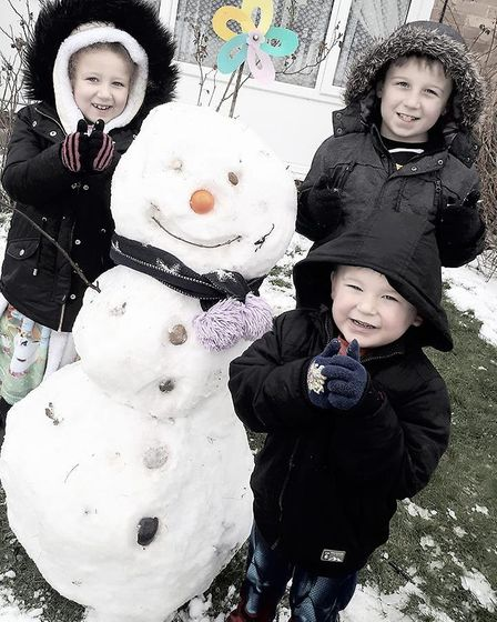 Left-right: Alice-Rose, 6; Mr Snowman, approx. 1 day; Arnie, 9; and Vinnie, 3. Picture: Alice Rose