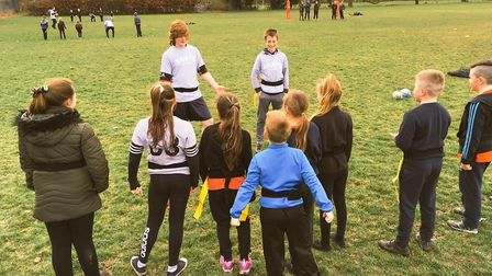 Thomas Clarkson Academy rugby players coach tag rugby sessions.