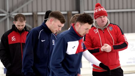 Wisbech Town trained in the snow last Saturday after their game against Daventry Town was postponed.