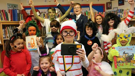 Hayden age 6 dressed as Where's Wally for World Book Day at Cranborne Primary School in Potters Bar.
