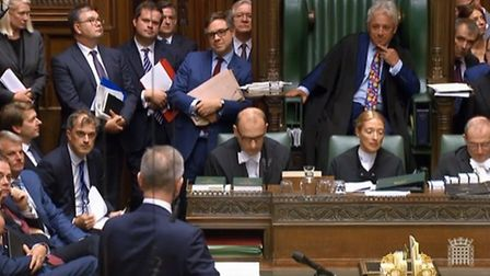 Was Bercow's middle finger a deliberate signal to Michael Gove? Picture: Parliament TV