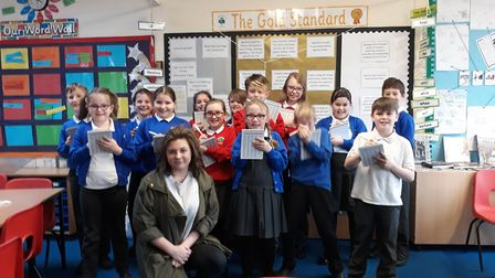 The Press Gang from Homerswood Primary School and Sophie Blackman. Picture: Supplied.