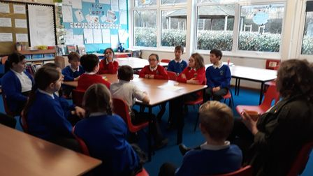 Sophie Blackman speaking with The Press Gang from Homerswood Primary School. Picture: Supplied.