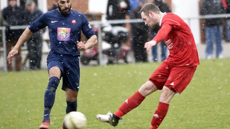 Top scorer Alex Beck fires the opener in Wisbech Town's 6-3 victory against Leicester Nirvana. Pictu