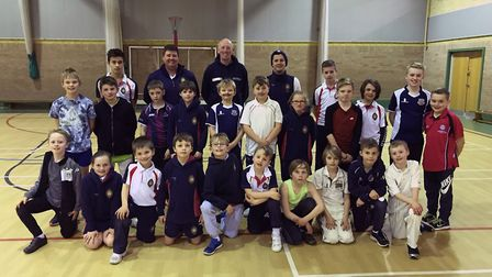 The Wisbech Grammar School group pose for a photo after the Cricket Academy is hailed a success.