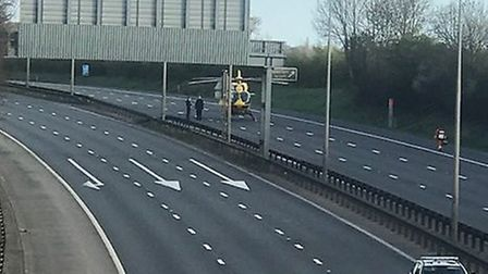 The A1(M) was closed to allow the air ambulance to land near the Hatfield Tunnel. Picture: Sophie Bl