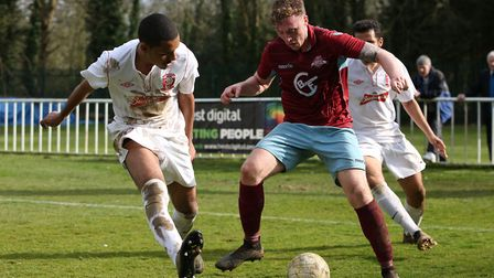 Nick Elliott takes on a defender. Picture: DANNY LOO