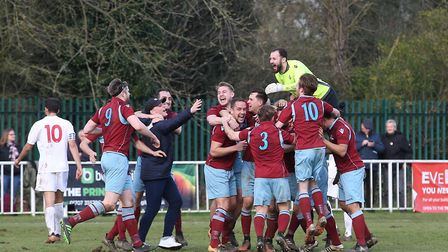 Welwyn Garden City players and staff celebrate winning the league at the final whistle. Picture: DAN