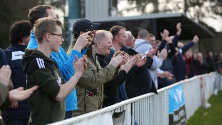 Welwyn Garden City fans celebrate after the clubs won the league. Picture: DANNY LOO