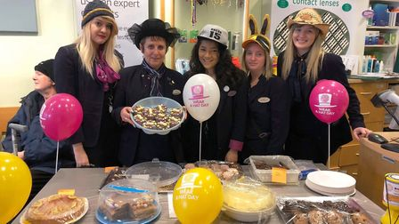 The team at Specsavers in Wisbech donated to wear a range of weird and wacky hats and also held a ca