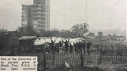 The site off Black Fan Road being covered with a tarpaulin in 1965.