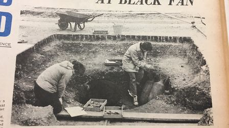 Archeologists excavating the site in 1965.