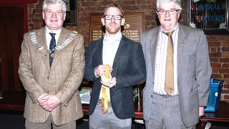 Jody Cundy pictured delivering his speech and standing for a photograph with members of the Wisbech