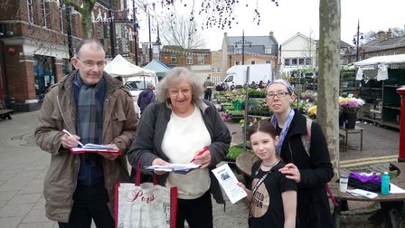 Labour Party campaigners continue their fight to save the number 46 bus. Here with a petition signin