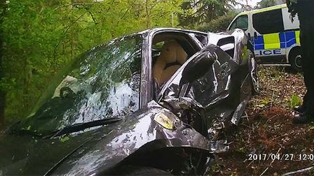 The crashed Ferrari. Picture: Herts Police