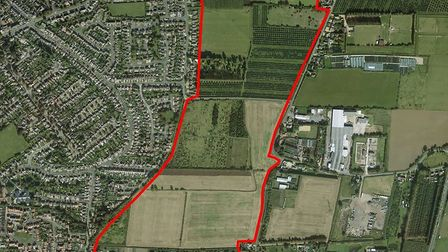 Bird's eye view of East Wisbech showing the broad concept plan area for new homes.