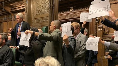 MPs protest the suspension of parliament. Photograph: Clive Lewis/Twitter.