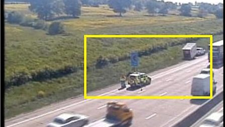 Highways England have closed one lane to aid the stranded vehicle. Picture: Highways England