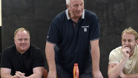 Wisbech Town chairman Paul Brenchley addresses a fans' forum last weekend as manager Gary Setchell (