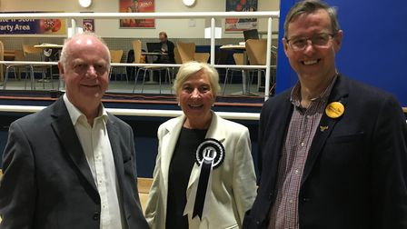 Lib Dem leader Malcolm Cowan, Independent candidate Sandra Kyriakides and Nigel Quinton.