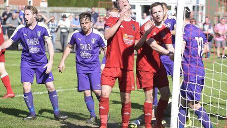 It was a case of so near yet so far for Wisbech Town against Daventry Town. Picture: IAN CARTER