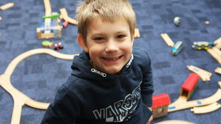 Hatfield Connect Reopening - Darius Kovacs, 5, enjoys playing with the train set.Picture: Karyn H